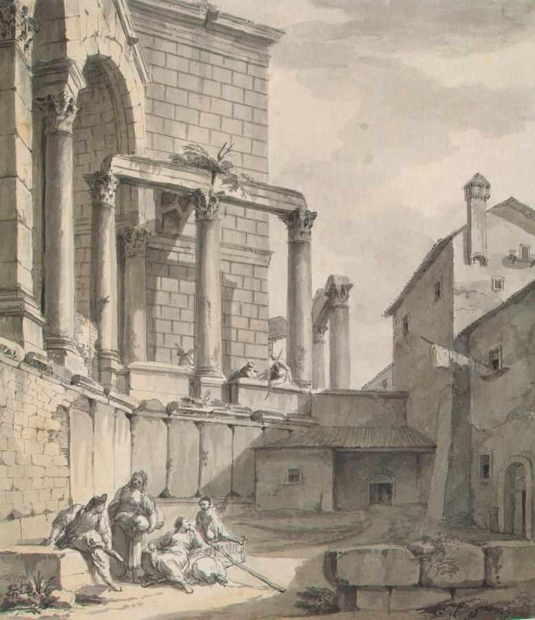 Clerisseau Charles-Louis - View of the Temple of Jupiter (Mausoleum) in Diocletians Palace in Spalato - OR-11615