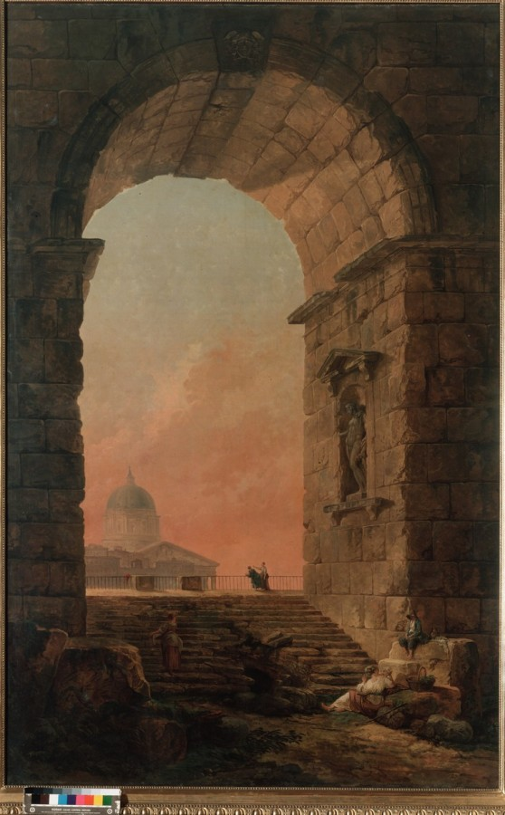 Robert, Hubert - Landscape with an Arch and The Dome of St Peter's in Rome2