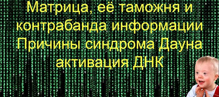 Матрица, её таможня и контрабанда информации. Синдром Дауна - метафизика